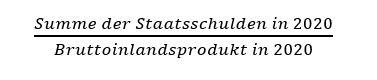 Formel Entschuldung durch Inflation. Staatsschulden geteilt durch BIP